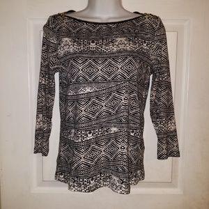 Rafaella Petite Pullover Stretch Zipper Neck Top